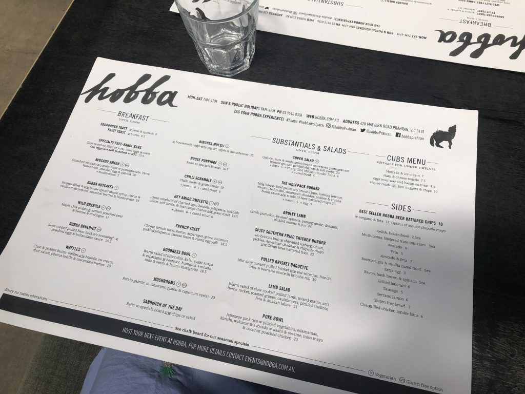 Hobba Cafe Prahan Melbourne brunch must eat wanderingwithyan menu